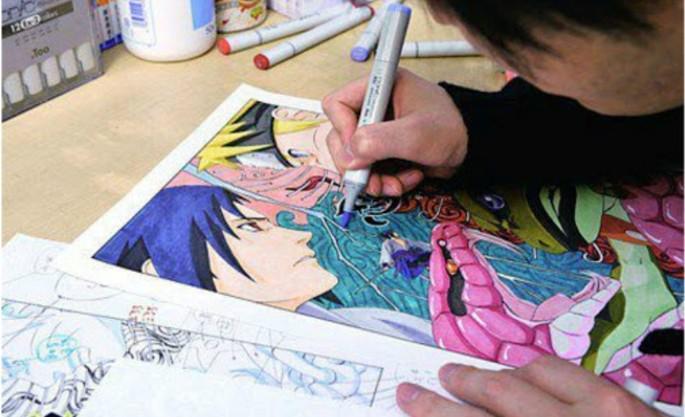 9 Kishimoto ilustrando Sasuke Uchiha