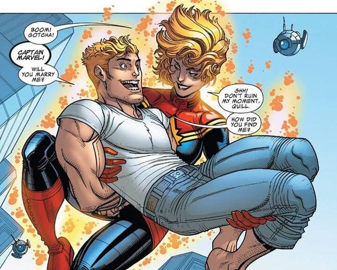 Carol Danvers y Peter Quill Guardianes de la Galaxia