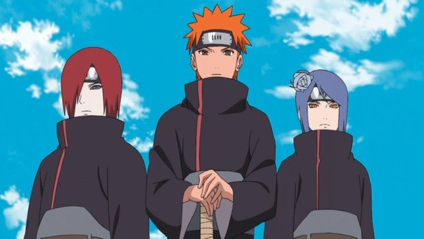 Nagato (Pain), Yahiko e Konan, fundadores da Akatsuki